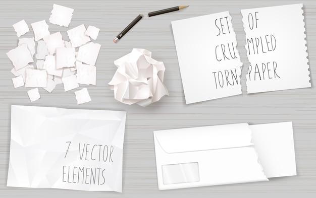 Establecer hojas de papel arrugadas