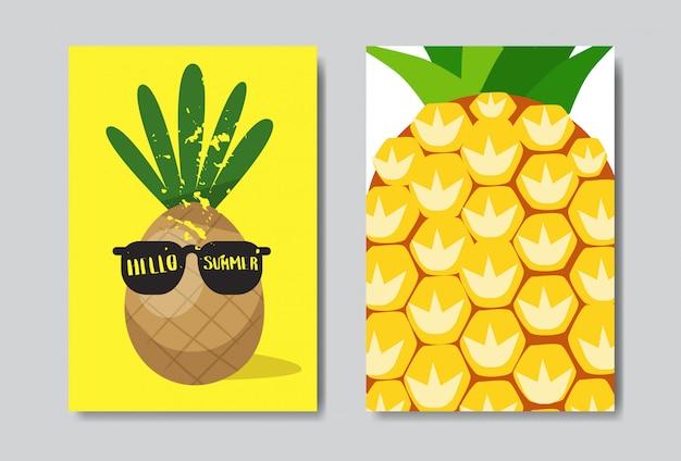 Establecer hola insignia de piña de verano tipográfico aislado