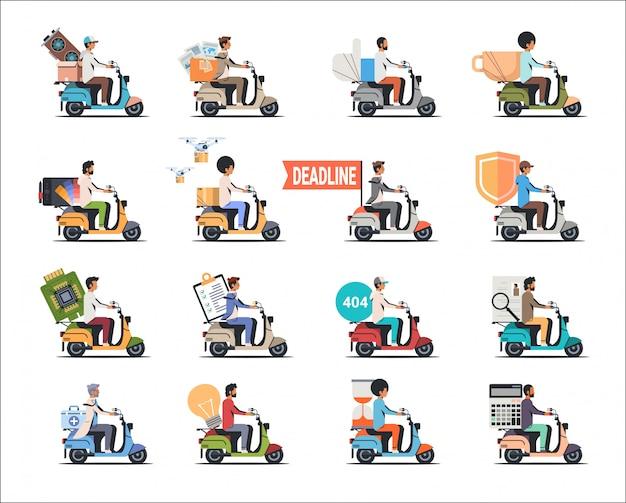 Establecer hombre montando scooter diferentes conceptos colección aislado plano