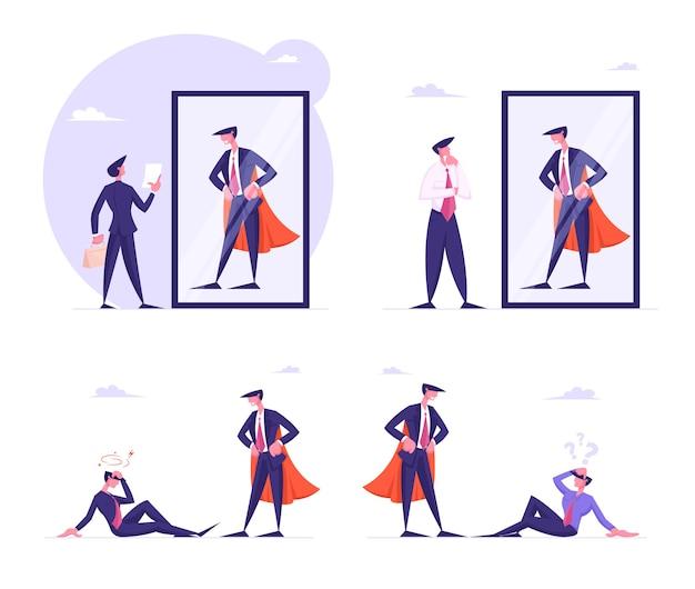 Establecer hombres de negocios que miran en el espejo imagínense a sí mismos como superhéroes en capa roja