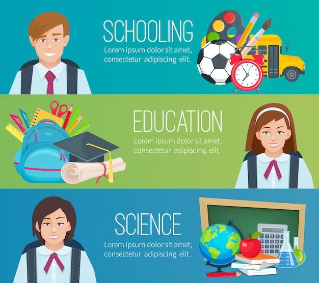 Establecer horizontal s con útiles escolares y estudiantes