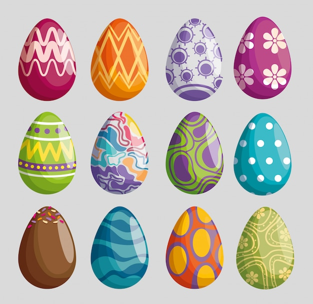 Establecer huevos con decoración de figuras para la celebración de pascua