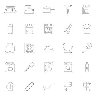 Establecer icono de contorno de vector de cocina