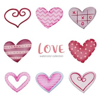 Establecer icono de corazones pintados con colores de agua y diferentes texturas, elemento de concepto de san valentín acuarela aislado encantadores corazones rojo-rosa románticos para decoración, ilustración.