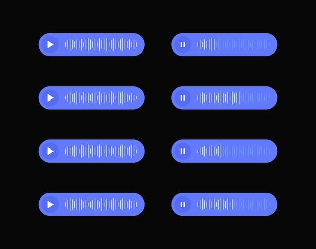 Establecer icono de mensajes de voz con onda de sonido para redes sociales. burbujas de plantilla de sms para componer diálogos de voz