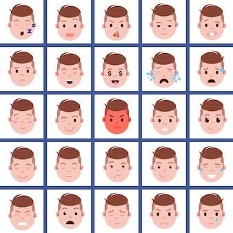 Establecer icono de personaje de emoji de cabeza de niño con emociones faciales, personaje de avatar, cara con concepto de emociones masculinas diferentes