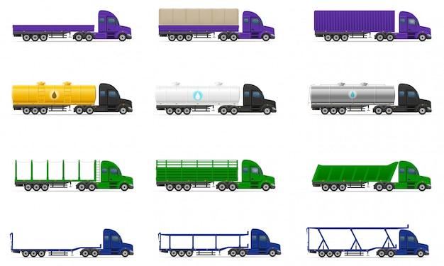 Establecer iconos camiones semi remolque ilustración vectorial