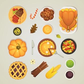 Establecer iconos de cena de acción de gracias, vista superior. comida en la mesa: pavo asado, pastel, salsa, calabaza, ilustración de verduras.