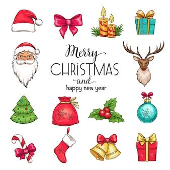 Establecer iconos dibujados a mano de navidad