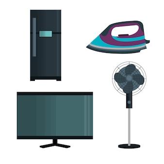 Establecer iconos de electrodomésticos vector diseño de ilustración