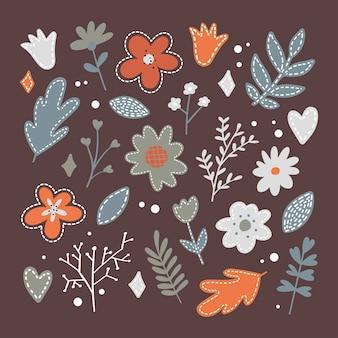 Establecer iconos de flores de primavera en silueta aislado en blanco.