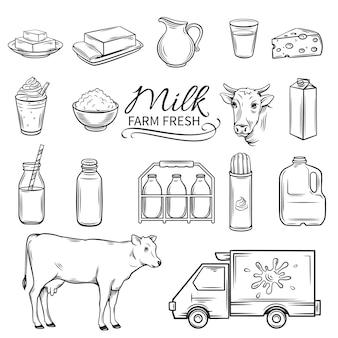 Establecer iconos de leche decorativos dibujados a mano