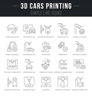 Establecer iconos de línea de vector de impresión de coches en 3d.
