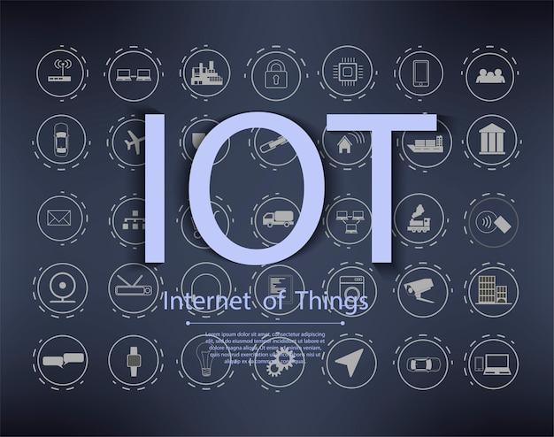 Establecer iconos de líneas vectoriales en internet de diseño plano de cosas y gadgets inteligentes