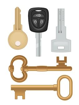 Establecer iconos de llaves. clásico, vintage, automóvil, estilo moderno. ilustración plana