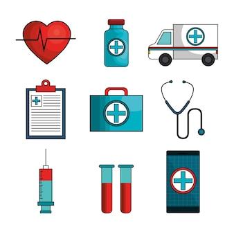 Establecer iconos médicos aislados ilustración vectorial diseño