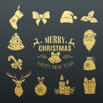 Establecer iconos monocromos de navidad.