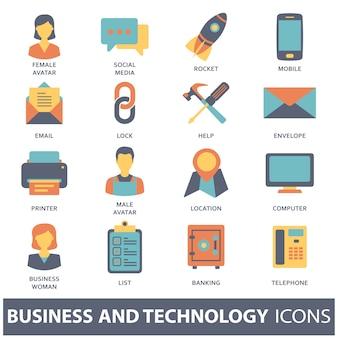 Establecer iconos vectoriales para conceptos móviles y aplicaciones web