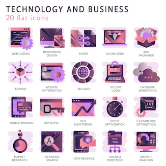 Establecer iconos vectoriales con elementos para conceptos móviles y aplicaciones web