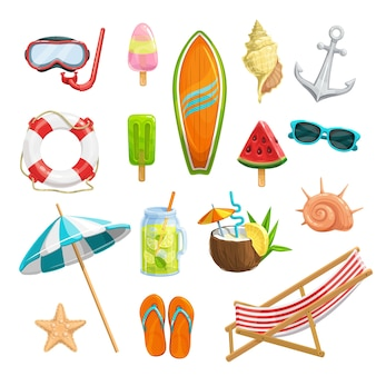Establecer iconos de verano. máscara para buceo, sandía, tabla de surf, conchas, estrella de mar, sombrilla de playa, chanclas, jugo helado, limonada, salvavidas y ancla. silla de playa y cóctel piña colada