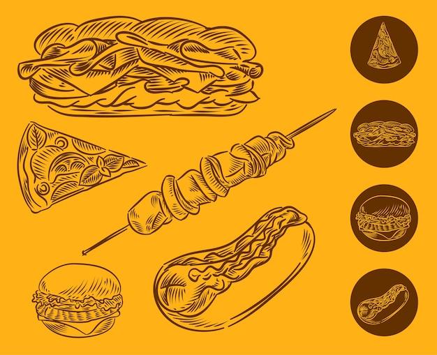 Establecer la ilustración de la barbacoa de sándwich de hamburguesa