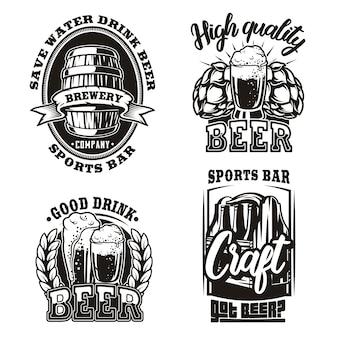 Establecer ilustración de cerveza sobre fondo blanco.