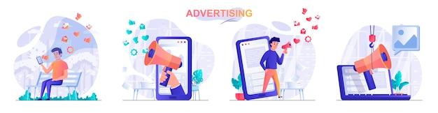 Establecer ilustración de concepto de diseño plano publicitario de personajes de personas
