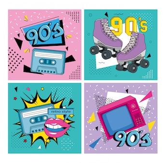 Establecer ilustración de estilo retro de los noventa