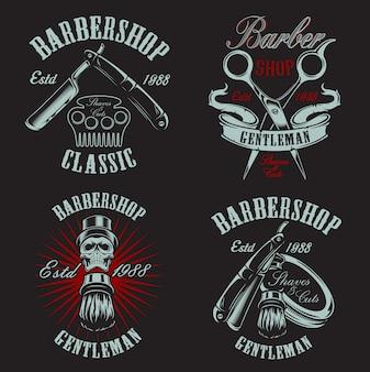 Establecer ilustración en estilo vintage para peluquería con calavera sobre fondo oscuro.