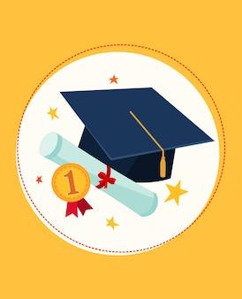 Establecer ilustración de gorra de graduación y premios