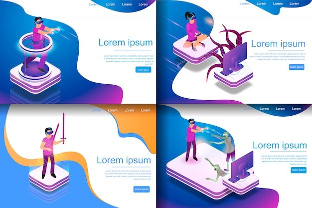 Establecer ilustración isométrica de entretenimiento virtual