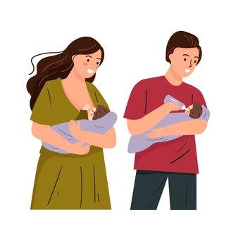 Establecer ilustración de la madre y el padre alimentando al bebé. mamá amamantando linda ilustración plana