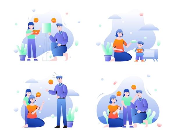 Establecer la ilustración de los padres que pasan tiempo con los niños y los apoyan