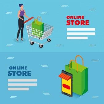 Establecer ilustración tienda online diseño de ilustración vectorial