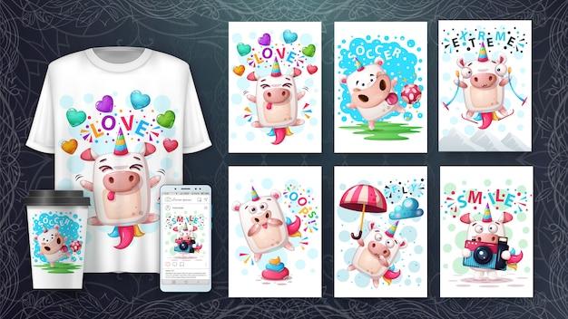 Establecer ilustración de unicornio y merchandising