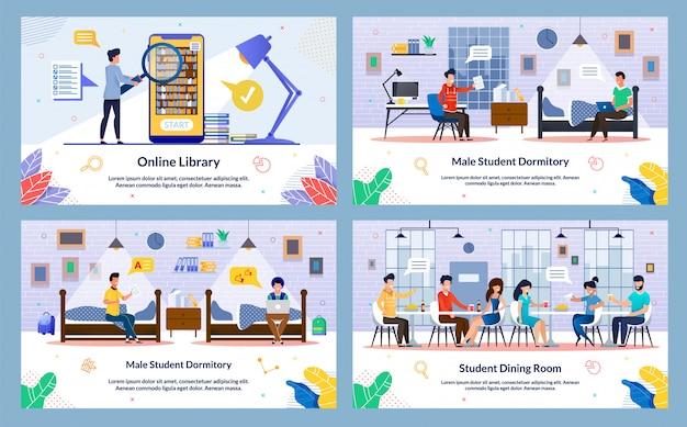 Establecer ilustración vectorial, biblioteca en línea, diapositiva.