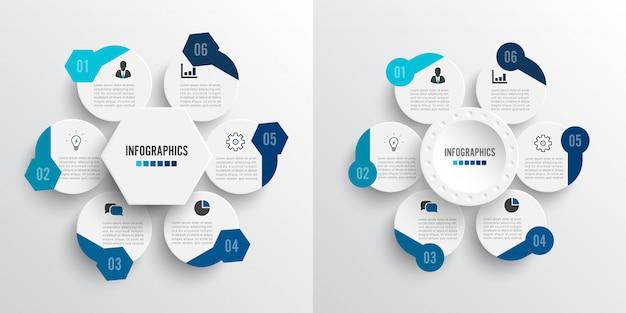 Establecer ilustración vectorial infografía 6 opciones.