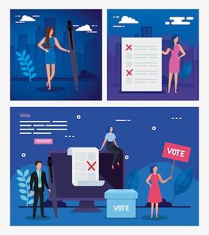 Establecer ilustración votar con gente de negocios