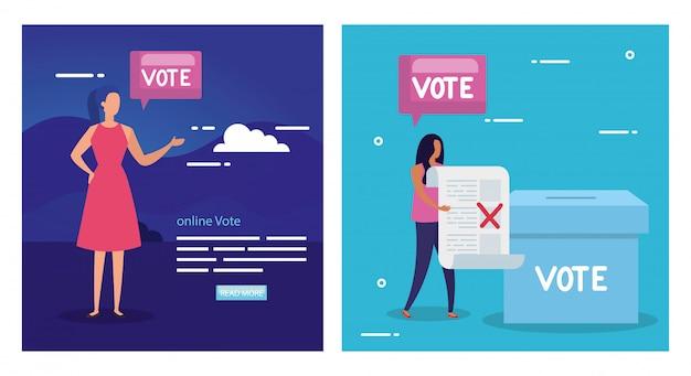 Establecer ilustración de voto con mujeres de negocios
