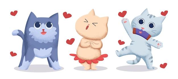 Establecer ilustraciones en acuarela de gato en tema de san valentín