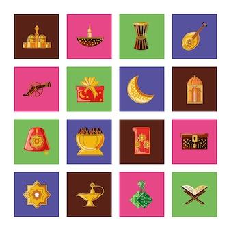 Establecer ilustraciones de celebración del patrimonio tradicional de ramadan kareem