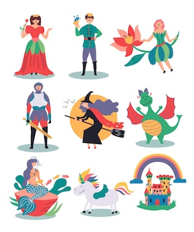 Establecer ilustraciones fabulosas bruja hada princesa príncipe caballero sirena unicornio castillo dragón