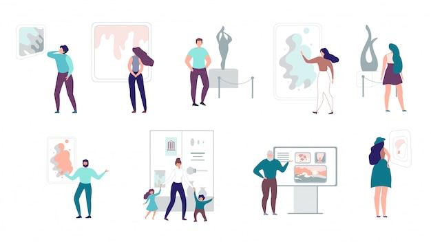 Establecer ilustraciones galería de visitantes o espacio de arte