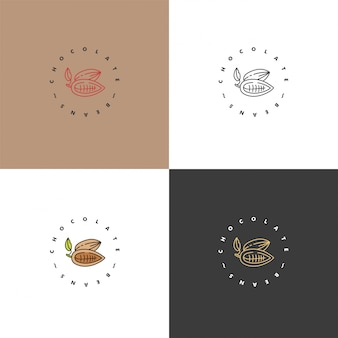 Establecer ilustraciones de logotipos de granos de cacao. iconos de estilo lineal. granos de chocolate y cacao.