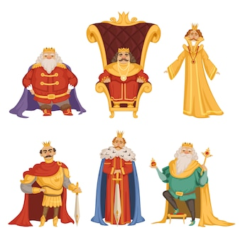 Establecer ilustraciones de rey en estilo de dibujos animados