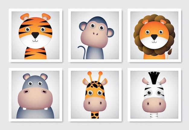 Establecer imágenes de dibujos animados de animales lindos.