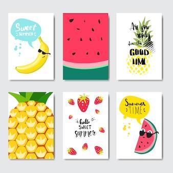 Establecer insignia de frutas exóticas aislado tipográfico