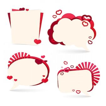 Establecer insignias, pegatinas para un feliz día de san valentín. rosa romántico con la decoración de corazones.