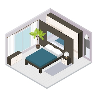 Establecer interior dormitorio isométrico