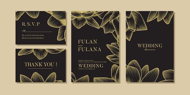 Establecer invitación de boda vip floral y flor plantilla de amor romántico